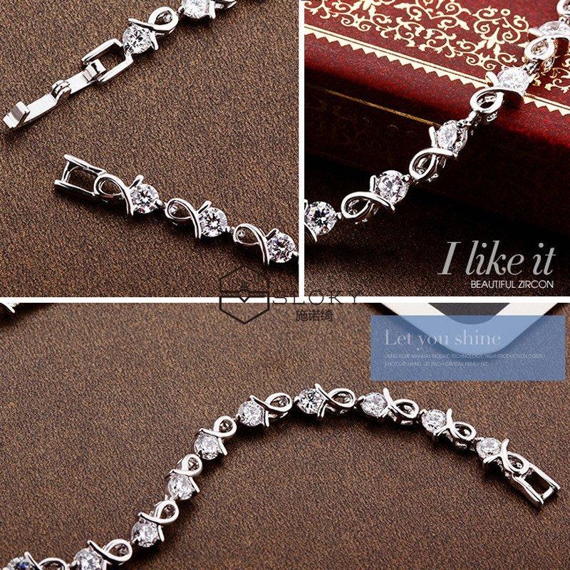 奇元素水晶镀925纯银时尚配饰新款送女友送闺蜜手链手环手饰生日礼物