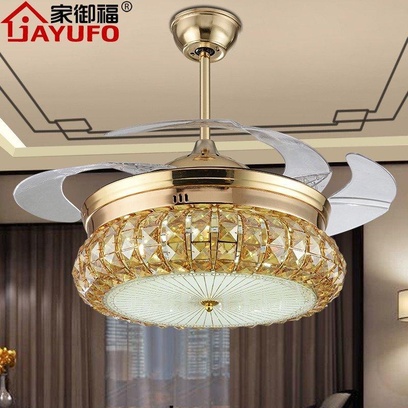 led水晶隐形风扇吊灯 欧式现代简约餐厅客厅伸缩吊扇灯 卧室家用电扇