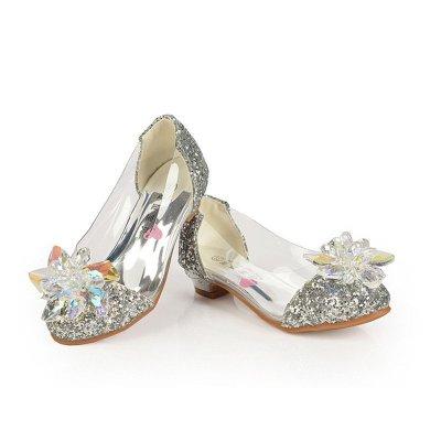 女童秋鞋小女孩子水晶鞋灰姑娘儿童高跟鞋公主皮鞋水钻单鞋闪 蓝色 27