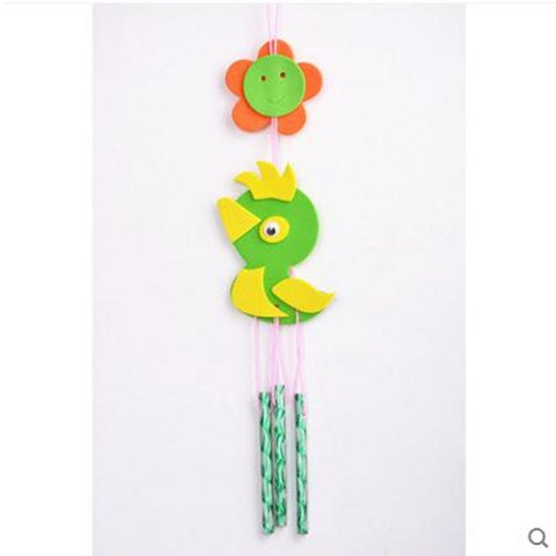儿童手工制作材料包 eva粘贴画diy创意风铃幼儿益智玩具 小鸟图案一套