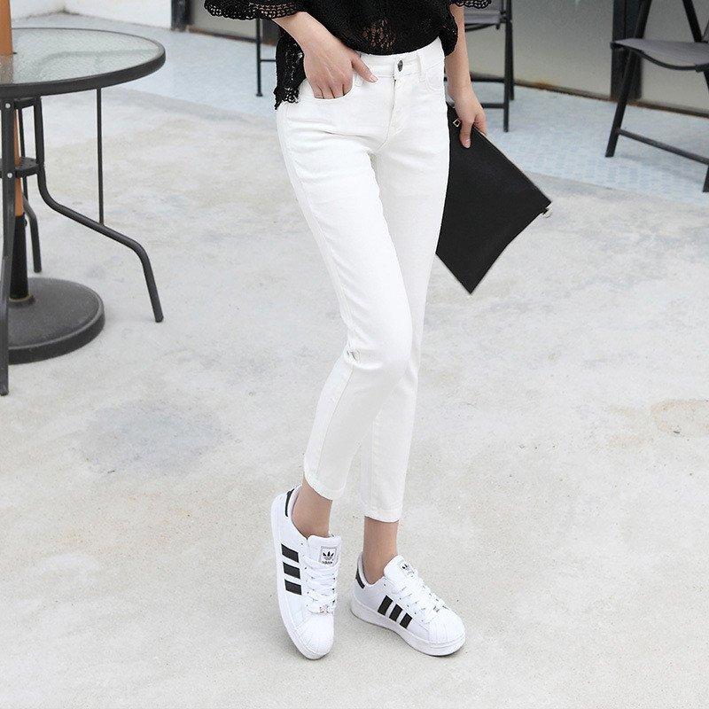 韩雪青青2016时尚夏季牛仔裤女高腰白色弹力显瘦个性