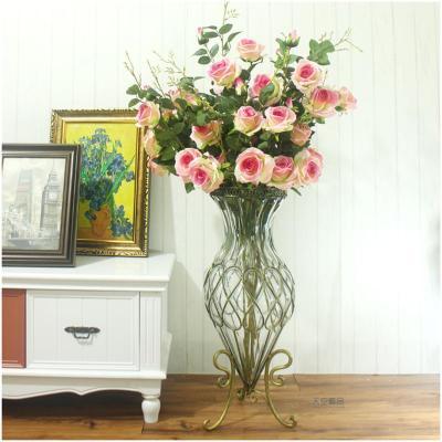 唐傲 欧式落地花瓶客厅装饰品摆件玻璃水培大插花瓶乔迁结婚礼品