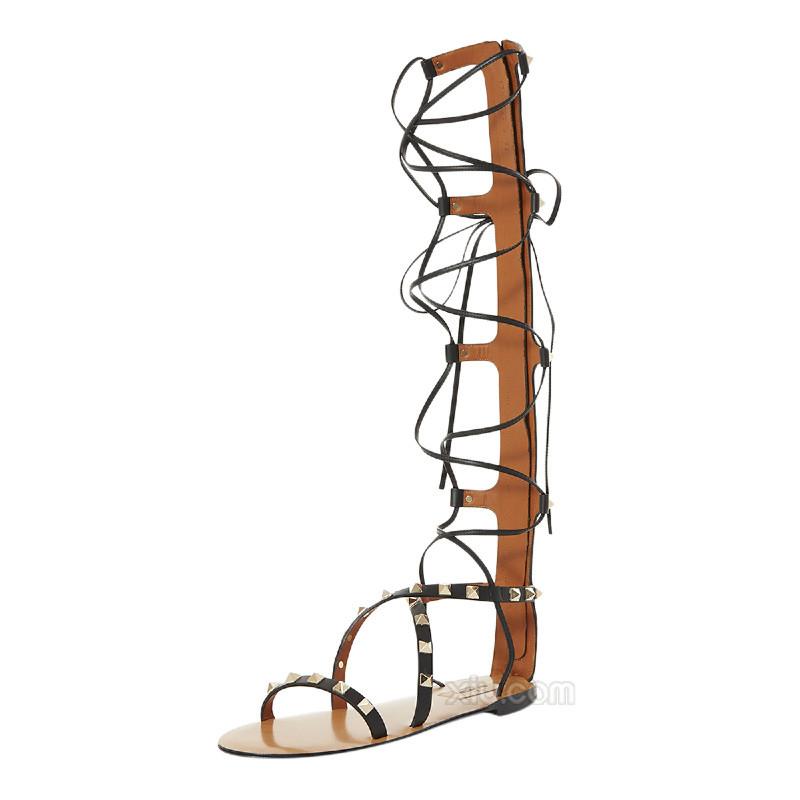 列】Valentino华伦天奴铆钉女士视频罗马鞋5指男性牛皮检图片