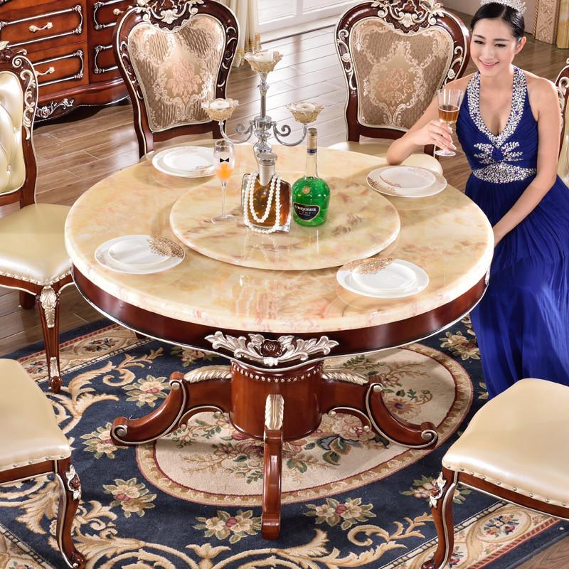 永旭家具 欧式餐桌 天然大理石圆形餐桌 实木橡木餐桌椅组合618 1.