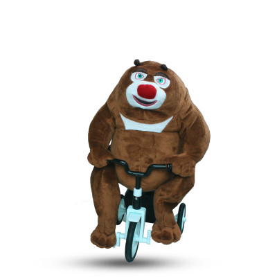 电动三轮 毛绒卡通益智玩具 可爱礼物 高约39cm 熊出没系列熊大骑车公
