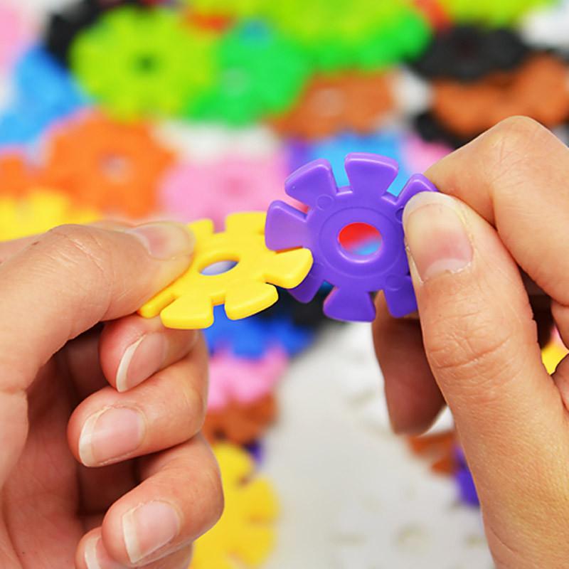 蓝色城堡 雪花片立体拼图加厚塑料拼插积木12色儿童建造拼装益智玩具3