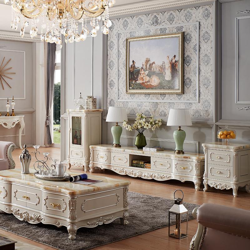 永旭家具 欧式大理石茶几电视柜组合天然大理石实木象牙白套装 低柜高
