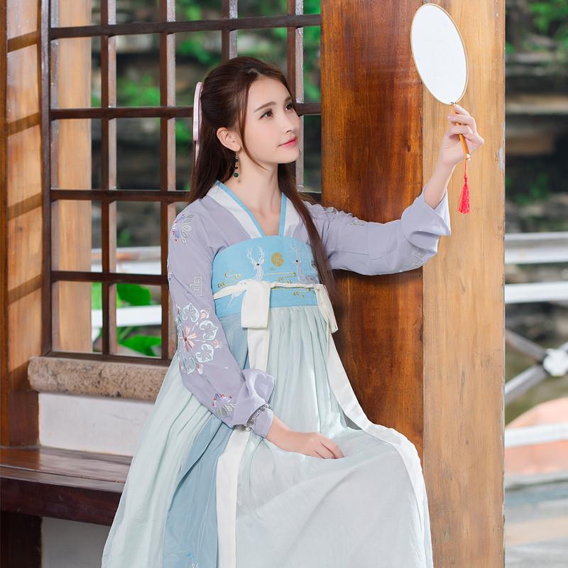 莲香情传统汉服女唐风古装 百搭日常可爱刺绣 仙女表演服饰 套装 m 两