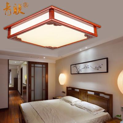新中式灯具长方形客厅灯卧室餐厅书房茶室吸顶灯实木亚克力灯饰 96*66