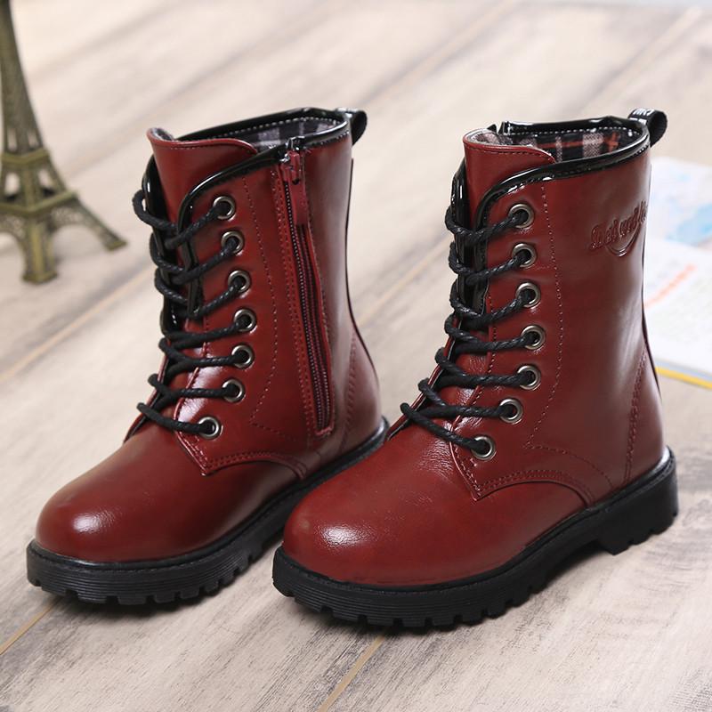 【来易之星系列】冬季皮靴儿童男童马丁靴女127的斤女生图片