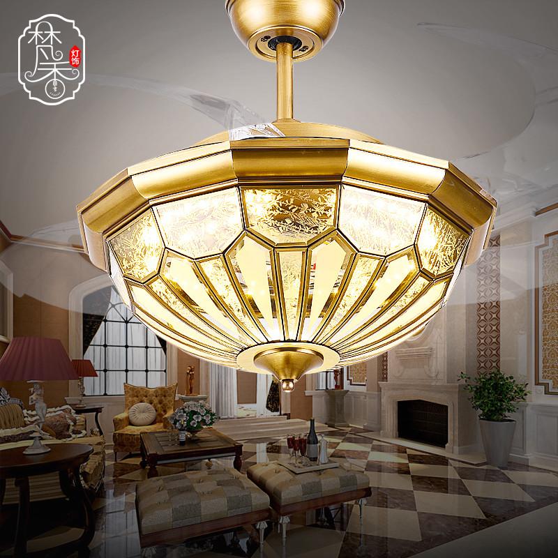 梵香吊扇灯 餐厅隐形风扇灯简约现代全铜隐形扇灯led变光欧式风扇吊灯