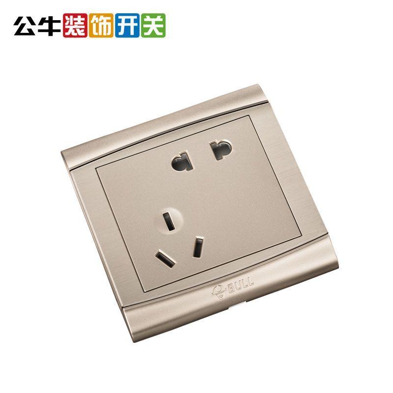 公牛开关插座墙壁电源一开单控5孔五孔插座带开关面板 10a二三眼g19z