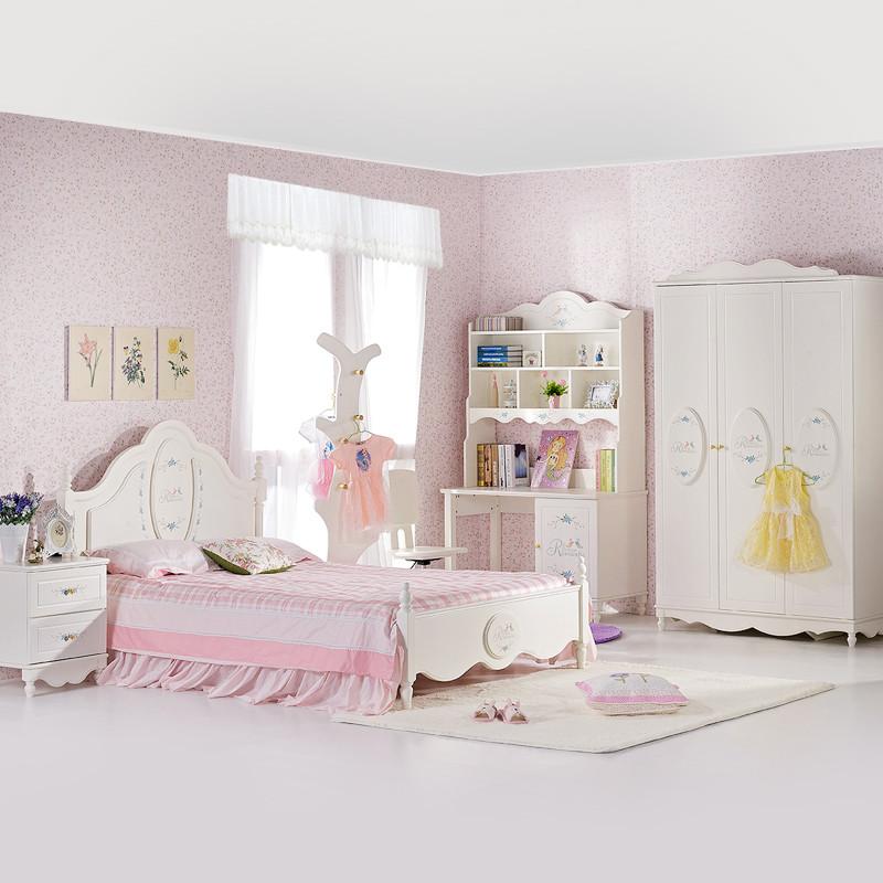 七叶木儿童房成套家具卡通可爱儿童床 女孩家具套装组合灵雀之冠高清