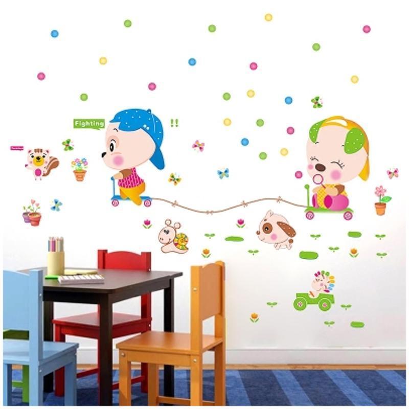 佳蕙儿童房间宝宝卧室装饰墙贴纸幼儿园早教卡通可爱动物赛跑墙壁贴画