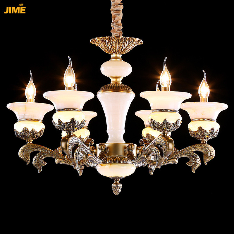 吉米全铜欧式云石吊灯 美式纯铜玉石客厅吊灯 卧室 书房 餐厅 吊灯