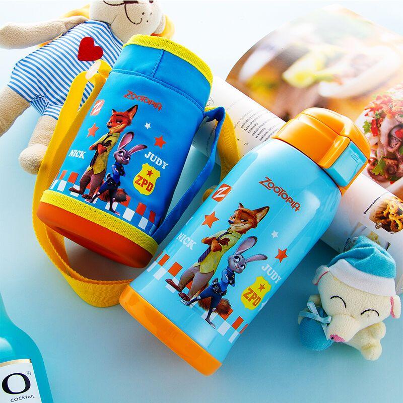 迪士尼 疯狂动物城 550ml 儿童双盖水杯吸管杯 保温杯 防漏背带水杯