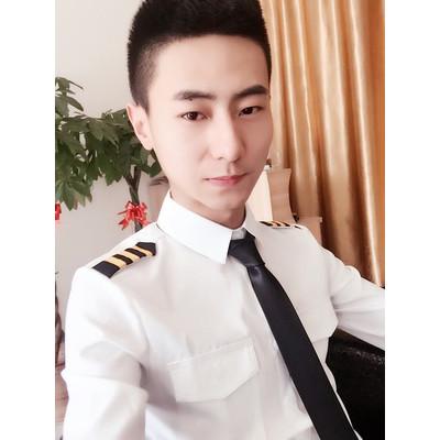 丹杰仕 时尚 男士长袖衬衫韩版修身理发型师海军制服衬衣肩章空少制服图片