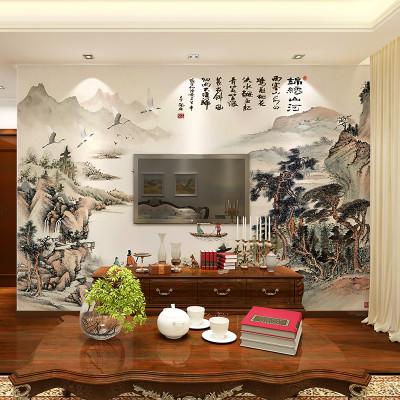 卡茵 中式水墨山水画墙纸客厅电视背景墙壁画 影视墙定制无缝无纺布