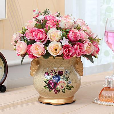 美思来登欧式客厅装饰摆件花艺摆放绢花插花玫瑰假花花卉仿真花套装