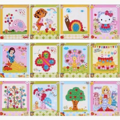 diy纽扣画 儿童手工制作幼儿园粘贴画装饰画玩具 公主款 喜羊羊