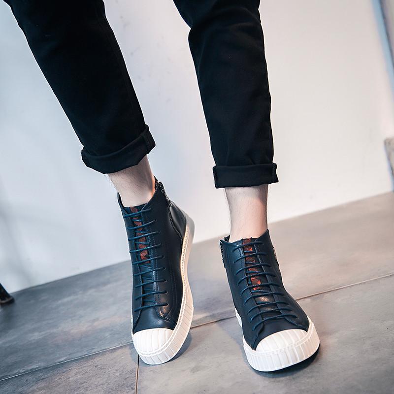 面帆布鞋高帮韩版男鞋子男韩版潮流潮鞋帕拉丁青少年休闲时尚旅游潮鞋