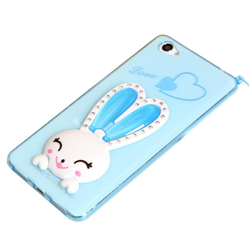 麦路 手机壳可爱兔子支架保护壳水钻防摔壳挂绳 适用于步步高vivo x7