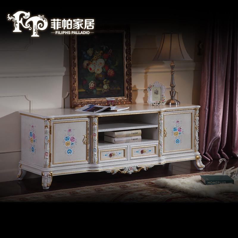 fp菲帕家居新品欧式宫廷法式实木雕花电视柜 欧式客厅手绘矮柜电视柜图片