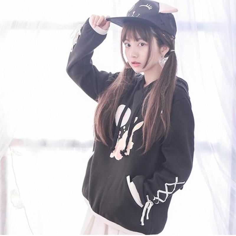 可爱玉兔连帽加绒卫衣套头女生带帽秋季闺蜜装 m 黑色高清实拍图