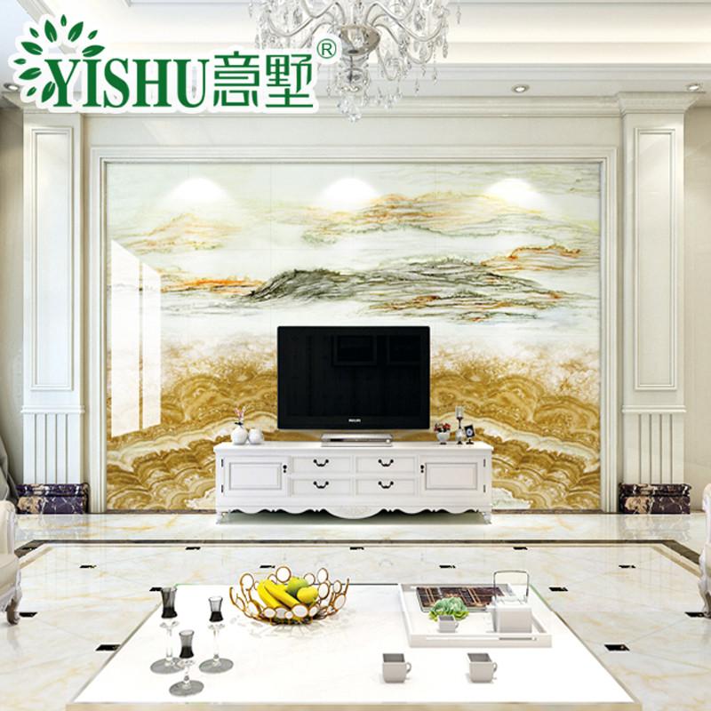 意墅定制瓷砖背景墙 3d微晶石大理石简约欧式客厅电视背景墙瓷砖 风生