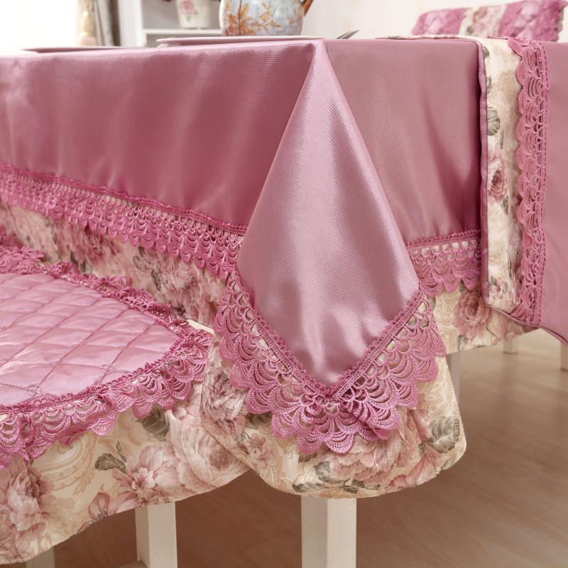 欧式高档纯色布艺 餐桌布带桌旗桌椅套套装餐椅垫子 餐椅套子台布