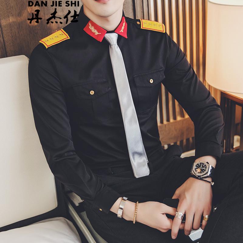 丹杰仕 发型师团队衣服ktv酒吧夜店男装班服修身大码长袖衬衫男空少个图片