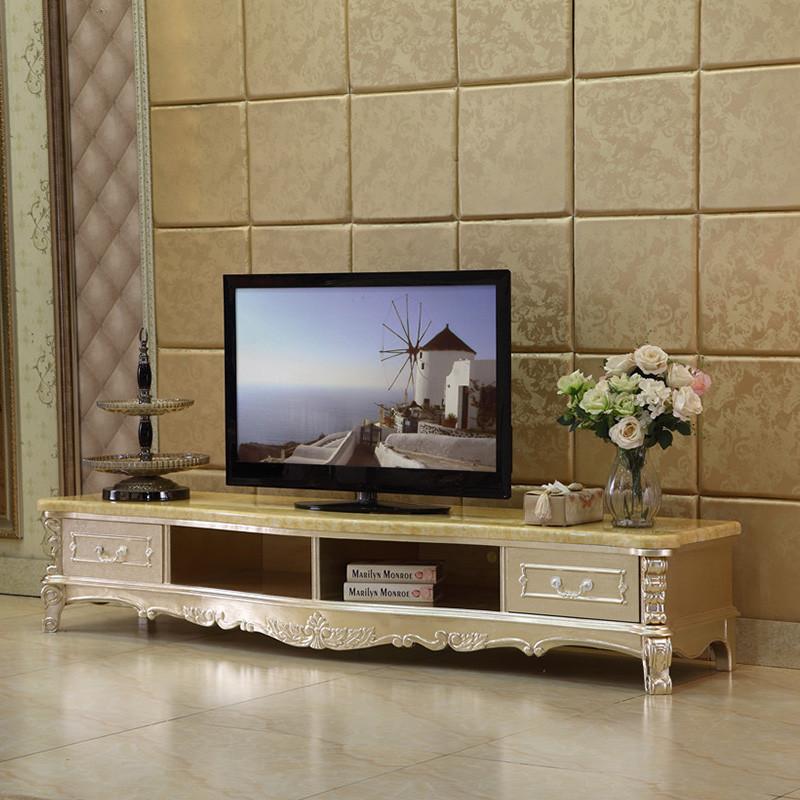 德鹰贵族 欧式电视机柜大理石客厅实木美式电视柜 2.2m石面高清实拍图