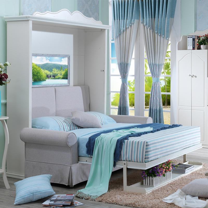 创意欧式田园沙发床 客厅竖翻隐形床壁床折叠床多功能双人床沙发 竖翻