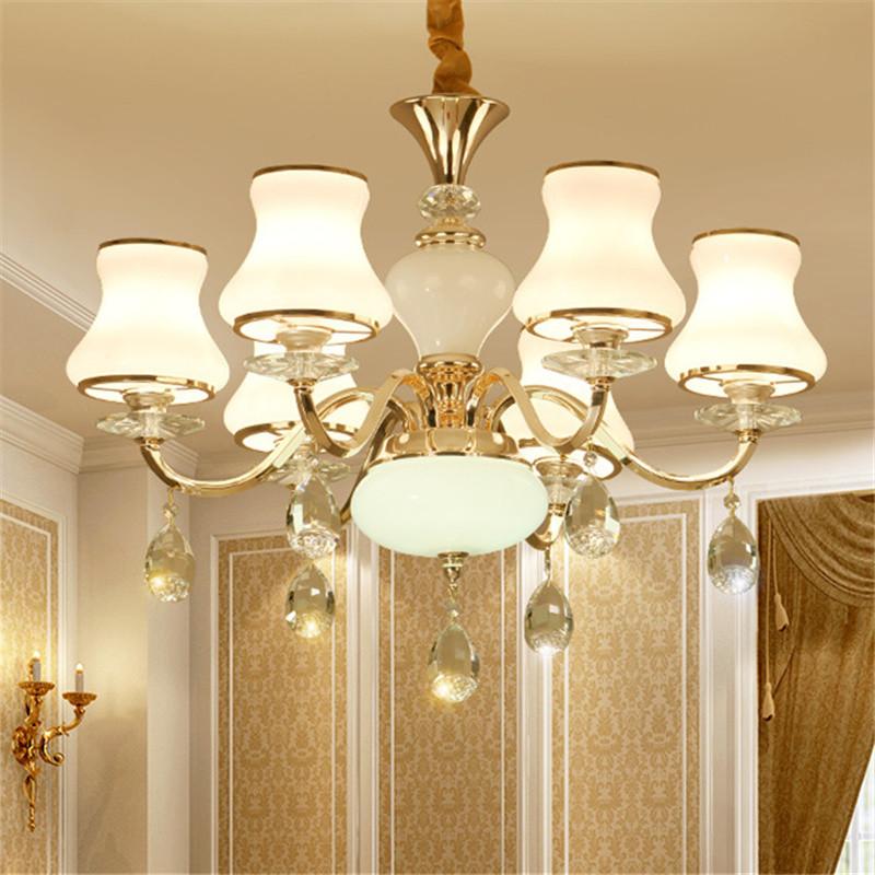 水晶吊灯 欧式客厅灯金色新古典后现代大气服装店餐厅卧室书房主卧