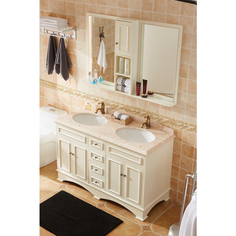 恒妙美式浴室柜组合实木橡木双盆洗漱台洗脸盆pvc落地卫浴柜面盆台盆