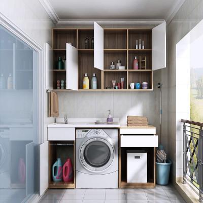 索菲亚阳台洗衣机柜简约洗手盆组合人造石台面阳台柜定制 抢购价图片