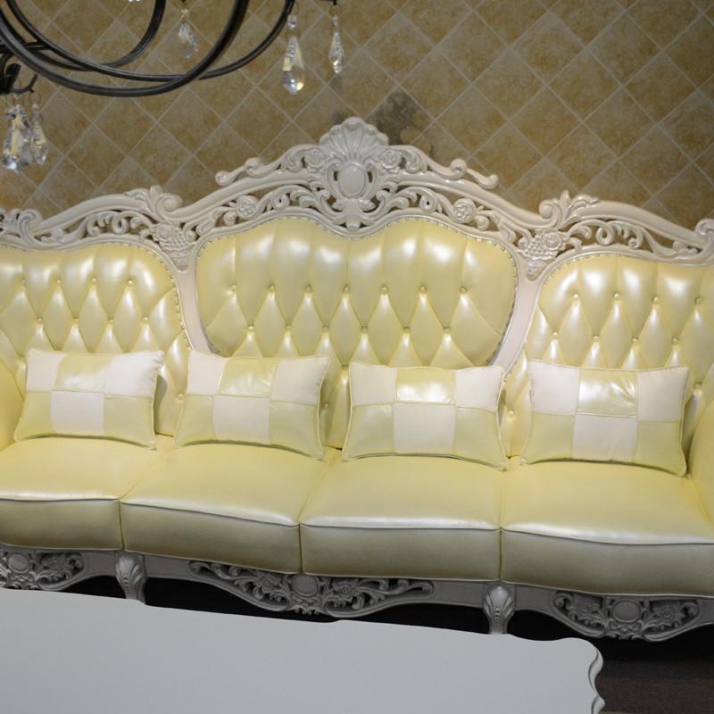 淮木 实木雕花四人位沙发124组合欧式皮沙发白色大户型别墅家具989