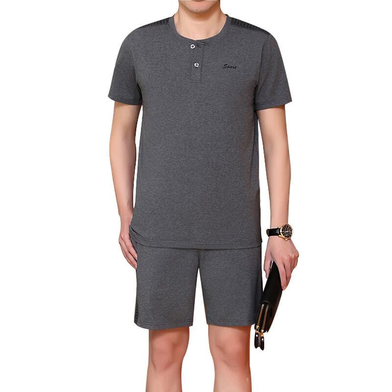 夏季中老年男士运动服套装男夏短袖短裤中年大码薄款爸爸装跑步休闲服