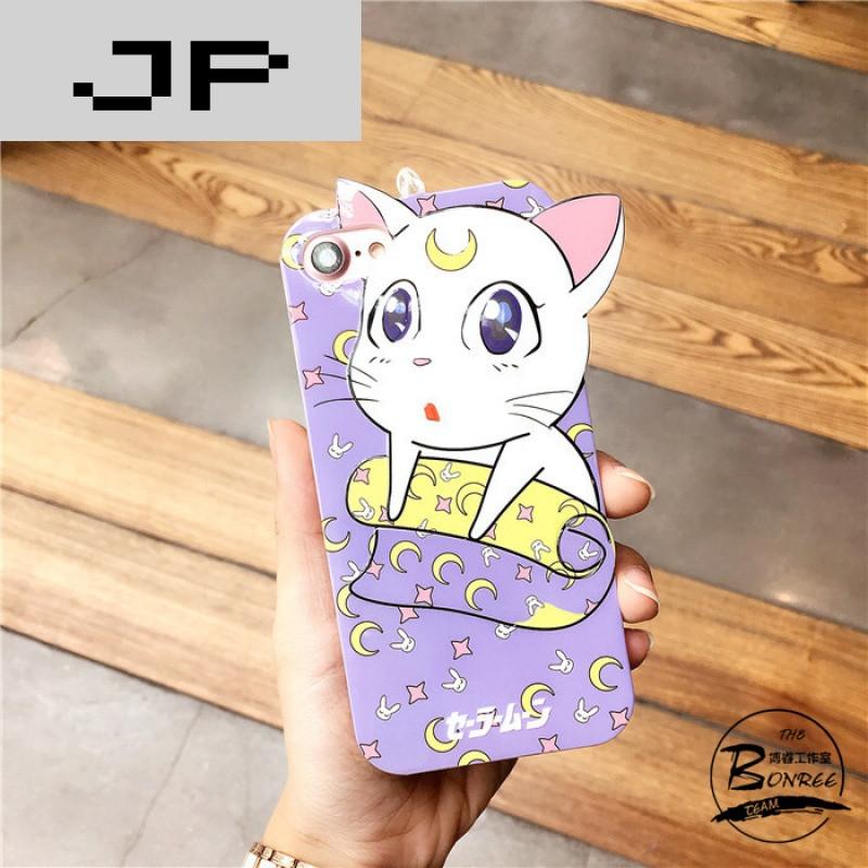 jp潮流品牌可爱卡通猫咪挂绳苹果7手机壳iphone7/6/6s/plus硅胶套全包