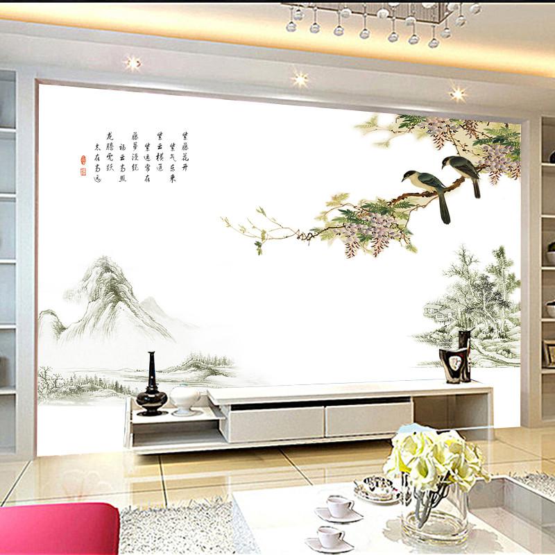 中国风喜鹊山水字画墙贴画电视背景墙装饰墙贴床头卧室墙上装饰贴画