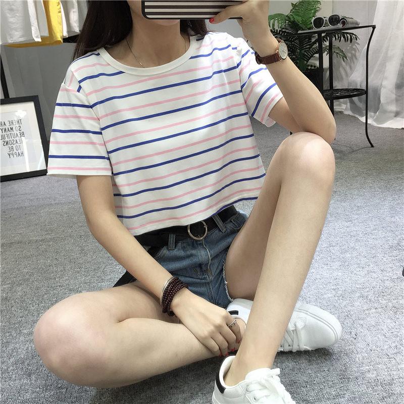 6805#实拍条纹短款短袖体恤女中学生夏季宽松高腰百搭短装衣服图片