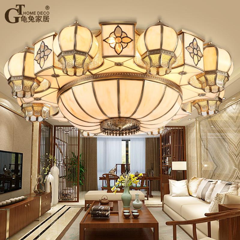 龟兔 新中式全铜客厅吊灯复古中国风卧室餐厅大气复式别墅仿云石吸顶