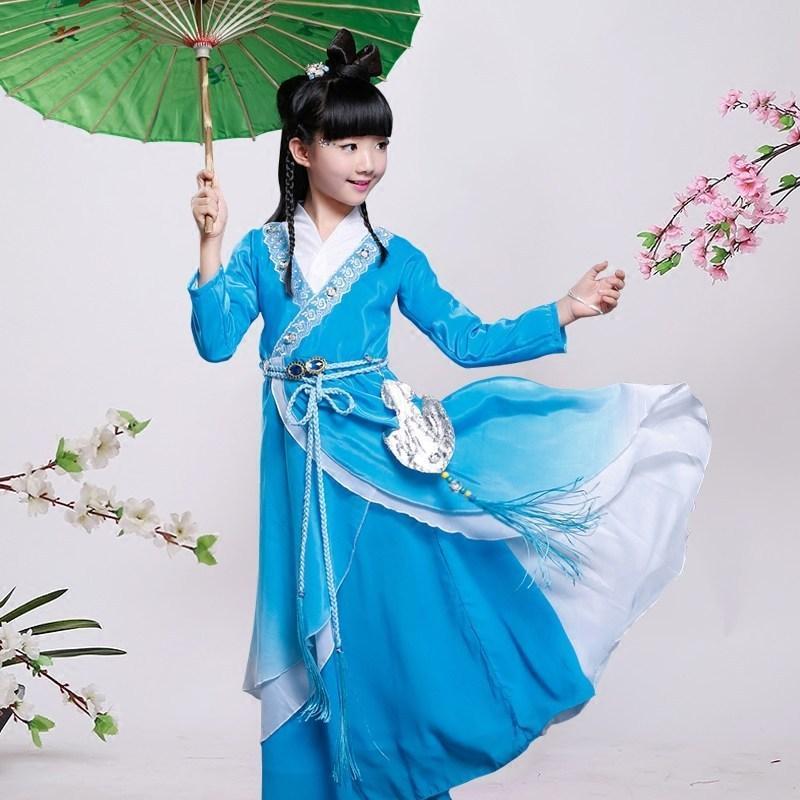 古装服装儿童仙女汉服女童公主贵妃唐装写真古筝碧瑶演出服1 150cm 绿