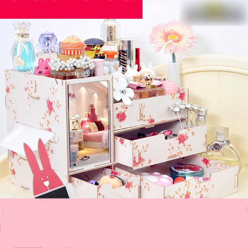 大号木制桌面整理收纳盒抽屉 带镜子化妆品梳妆盒收纳箱储物盒整理盒