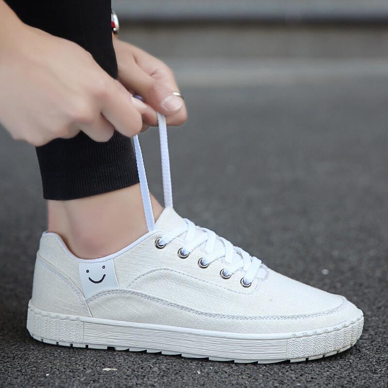 王俊凯同款简约笑脸小白鞋男夏季透气帆布鞋学生休闲低帮系带厚底板鞋图片
