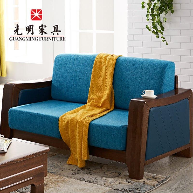 新中式客厅家具木质布艺沙发 3806现代中式榆木布艺沙发 单人沙发