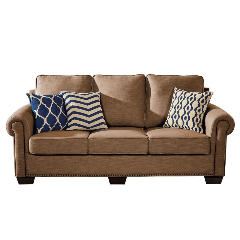 居美式乡村风格布艺沙发小户型沙发欧式沙发简约棉麻沙发包邮 深棕色