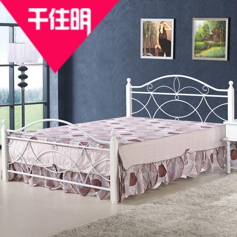 千住明现代简约时尚卧室钢木床家居床简易欧式乡村高床尾单层双人床