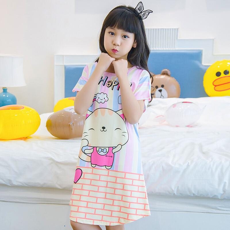 宾如意夏季女童睡裙儿童棉质圆领可爱家居服亲子薄款公主裙宝宝女孩