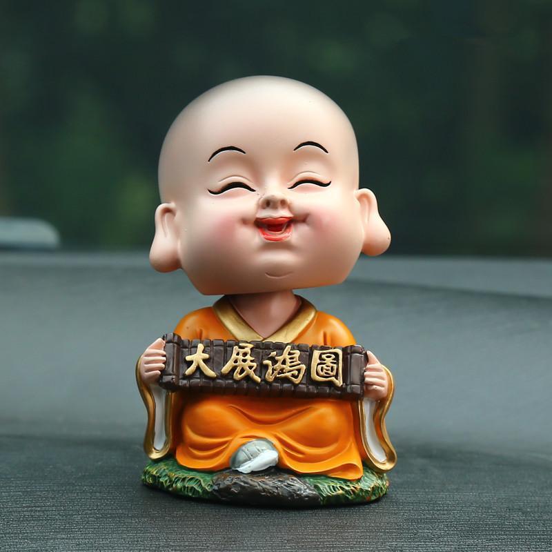 弥勒佛像可爱公仔车内装饰品平安车饰车用车载挂件汽车用 随缘小和尚